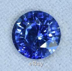 Certified Medium Royal Blue Round Ceylon Sapphire 3.23ct
