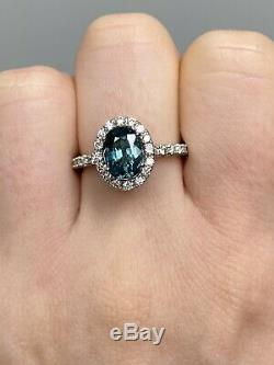 Certified NO HEAT 2.6 Ct Peacock Teal Blue VVS Sapphire Diamond Ring 14K W Gold
