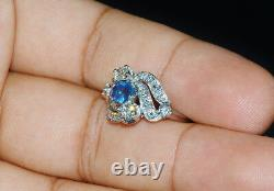 Certified Natural 1.3Ct VS G Diamond Sapphire Solid Platinum Vintage Bypass Ring
