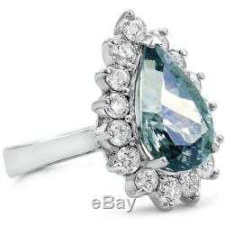 Certified Natural 5.83ct Blue-Green Tanzanite and 1.62cttw Dia 14KT White Gold