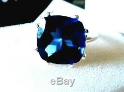 Certified Natural Blue Tanzanite Cocktail Ring solid 925 Sterling Silver 8