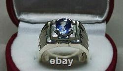 Certified Natural Ceylon Blue Sapphire Sterling Silver 925 Handmade Mens Ring