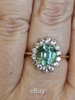 Certified Natural Copper bearing blue green Paraiba tourmaline halo gold ring