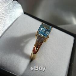 Certified Natural Santa Maria Aquamarine & Diamond Gold Ring