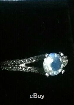 Certified, Natural diamond & blue moonstone ring. 9ct white gold, N-O. Immaculate