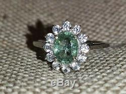 Certified Natural neon blue green Paraiba tourmaline halo gold ring