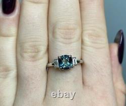Certified No Heat 1.8 Ct Teal Blue Cushion Sapphire & VS Diamond Ring 18K W Gold
