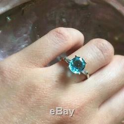 Certified Paraiba Tourmaline Oval Cut 14CT White Gold Diamond Ring