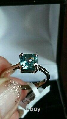Certified Ratanakiri Blue Zircon Asscher cut ring 2.40CT. 9ct white gold. Size Q