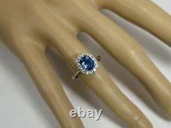 Certified Sapphire Ring Halo 18K White Gold Natural GIA Heirloom Insur Ap $9,464
