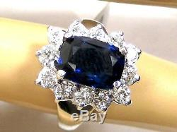 Certified Sapphire Ring Royal Blue 18K white gold Halo Natural Heirloom $24,337