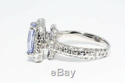Certified Stunning Untreated 4.43 ct Blue Sapphire & Diamond Platinum Ring