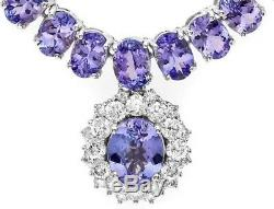 Certified Tanzanite 60.00cttw and 1.75cttw Diamond 14KT White Gold Necklace