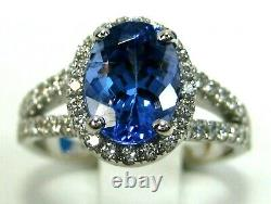 Certified Tanzanite Ring Halo 18K White Gold Natural AAAA GIA Insured App $8,684