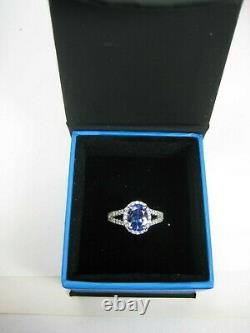 Certified Tanzanite Ring Halo 18K White Gold Natural AAAA GIA Insured App $8,684