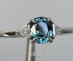 Certified Unheated 1.42 Ct Teal Sapphire & E VS1 Diamond Ring 14K White Gold