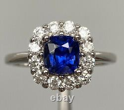 Certified Unheated Vivid Blue Color Change Sapphire Diamond Ring 14K W Gold