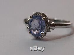 Certified Untreated 1.88 ct Ceylon Blue Sapphire & Diamonds Ring