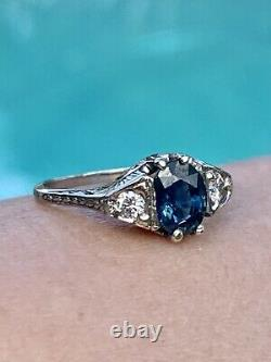 Certified Vintage 18K Solid Gold Natural Blue Sapphire Diamond Art Deco Ring