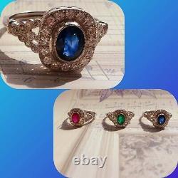 Certified Vintage Style Blue Sapphire Diamond PLATINUM Halo ENGAGEMENT RING