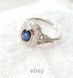Certified Vintage Style Blue Sapphire Diamond PLATINUM Halo ENGAGEMENT RING