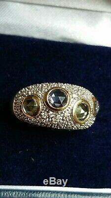 Certified ceylon Blue Sapphire, Madagascan Green & Diamond 9ct gold dome ring. N-O