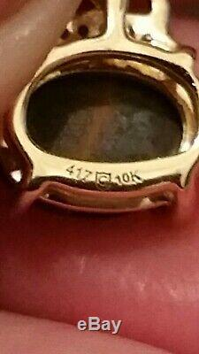 Certified natural Australian opal on ironstone &diamond earrings. 9ct yellow gold