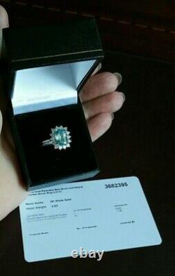 Certified natural Ratanakiri Blue & white Zircon ring 4.43 CT. 9ct white gold