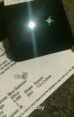 Certified1/2ct(. 50)fancy blue diamond stud earrings. 14ct(NOT 9or18ct)white gold