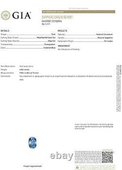 Ceylon No-Heat Blue Sapphire Diamond Platinum Ring, GIA Certified 6.69CTW
