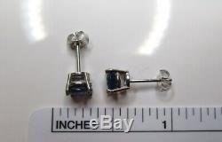 Cornflower Blue Sapphire Stud 14K WG New Certified 1.55 TCW 5.6mm Earrings Box