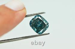 Cushion Cut Diamond Loose Fancy Blue Color Natural Enhanced Certified 4.96 Carat