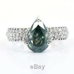 Designer 2.94 Ct Certified, Pear Cut Blue Diamond Ring With VVS Diamonds