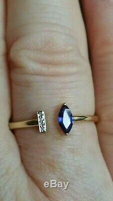 Designer inspired Certified Ceylon sapphire and diamond 9ct Not 18ct gold ring