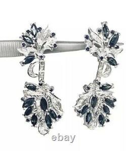 Diamond Sapphire Palladium Drop Earrings 2.9TCW Certified $1,590 913282
