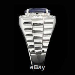 Ebay Charity Certified 14k White Gold 6ct Royal Blue Sapphire Diamond Mens Ring