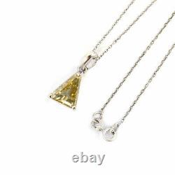 Elegant 2.70ct Trillion Shape Certified Off White Diamond Pendant, Prong Setting