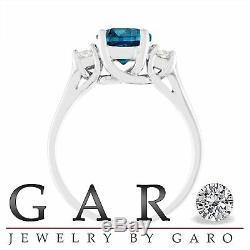 Enhanced Blue Diamond Engagement Ring, 2.00 Carat 14K White Gold Certified