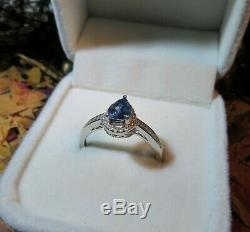 Exotic Certified natural VS Cornflower Blue Sapphire 5x7mm silver ring 8US