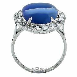 Fine AGL Certified Unheated Royal Burma Blue Sapphire & Diamond Platinum Ring