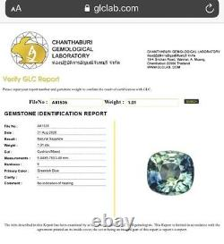 Flawless Unheated 1.34 Ct Teal Blue Sapphire & Diamond Ring 14K W Gold Certified