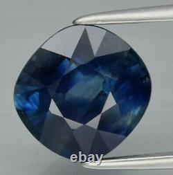 GIA CERTIFIED 3.81ct Natural Blue Sapphire Cushion Cut Loose Gem TRANSPARENT