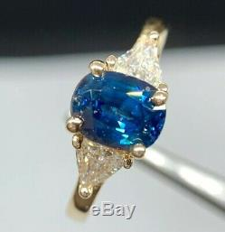 GIA Certified 1.86 CT Blue Sapphire & Diamond Engagement Ring 14K Yellow Gold