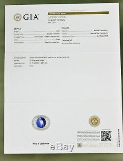 GIA Certified 10 Carat No Heat Royal Blue Star Sapphire Men's Ring 18K Gold