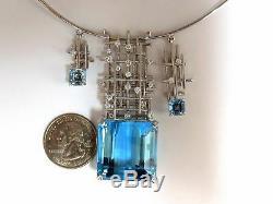 GIA Certified 117.17ct natural blue topaz aquamarine diamonds necklace 14kt