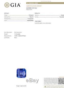 GIA Certified 12.29Ct Natural Tanzanite Diamond Ring Vivid Blue Ascher 14kt
