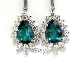 GIA Certified 12.53ct Natural Tourmaline Diamonds Dangle Earrings 18 Karat
