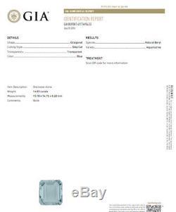 GIA Certified 17.03ct Natural Blue Aquamarine diamonds ring Vivid 18kt