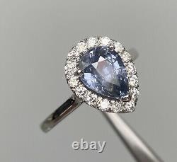 GIA Certified 2.5 Ct NO HEAT Violet Blue Sapphire & VVS Diamond Ring 14K W Gold