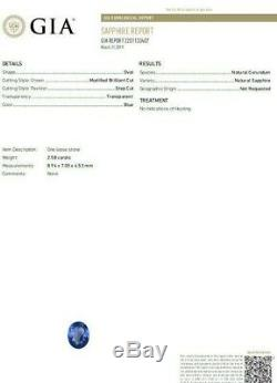 GIA Certified 2.58ct Natural No Heat Sapphire Diamond Ring Unheated Platinum